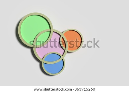 3d rendering of four colorful framed circles on grey background. Illustration