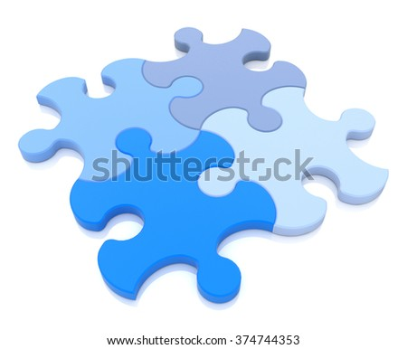 3D rendering of four puzzle pieces in different shades of blue assembled together in the design of information related to the conceptual idea