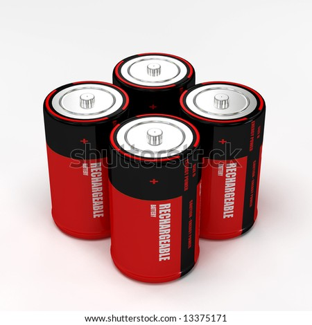 3d rendering of four rechargeable battery on white background
