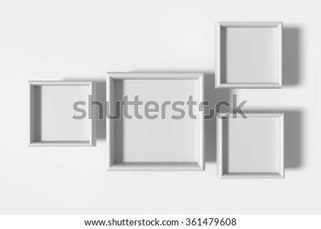 3d rendering of four white frames on white background.Illustration - stock photo