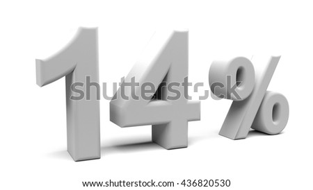 3D rendering of fourteen percents text, with big fonts isolated on white background.