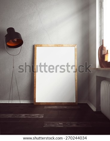 3D rendering of frame in room - stock photo