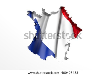 3d rendering of France map and flag on white background.