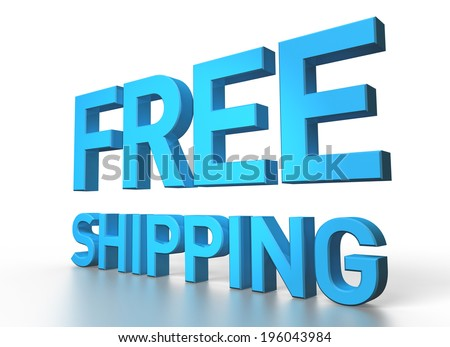 3d rendering of Free shipping blue glossy text on white background with shadow and reflection - stock photo