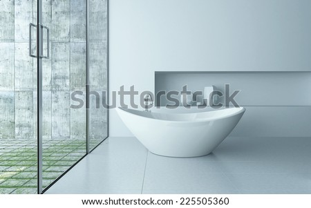 3D Rendering of Freestanding bathtub in a modern white bathroom interior - stock photo