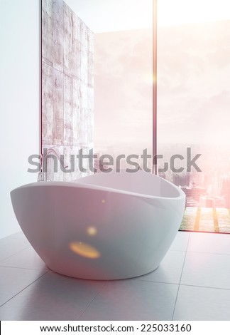 3D Rendering of Freestanding bathtub in a modern white luxury bathroom interior with sunflare effect - stock photo