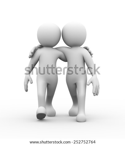 3d rendering of friends with hands on shoulder walking together.  Concept of friendship, help, support, love. 3d white person people man