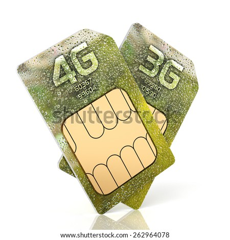 3d rendering of 3G and 4G smartphone sim card isolated on white background - stock photo