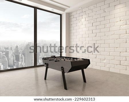 3D Rendering Of Gaming Table In A Spacious White Painted Brick Playroom  With Large Bright Panoramic