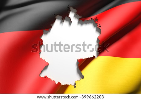 3d rendering of Germany map and flag on background.