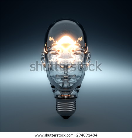 3d rendering of glass head shaped light bulb glowing. AI creativity concept - stock photo