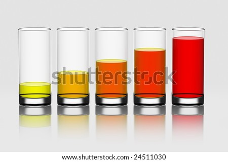 3d rendering of 5 glasses