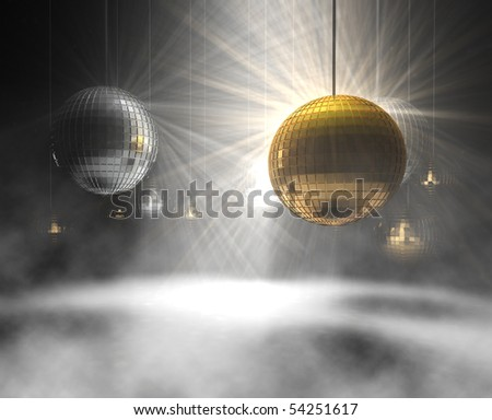 3d rendering of gold and silver DiscoBalls - stock photo