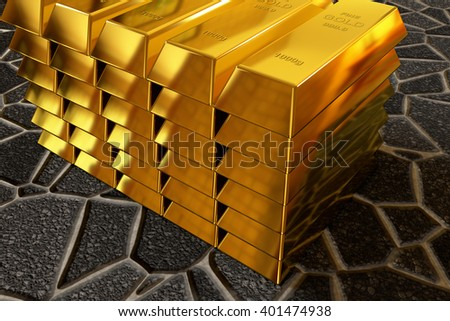 3d rendering of gold bars stack on the paving sidewalk - stock photo