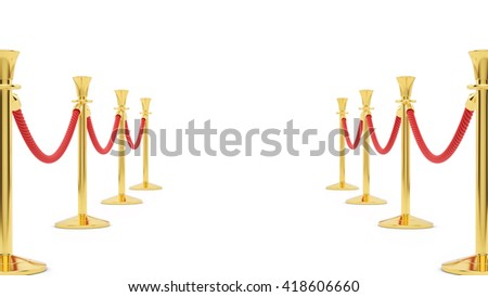 3D rendering of gold stanchions, isolated on white - stock photo