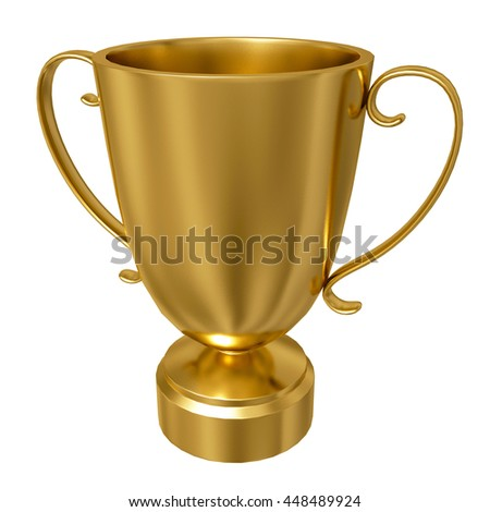 3D rendering of gold trophy cup isolated against a white background  - stock photo
