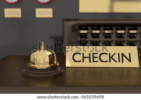 3D rendering of golden bell at hotel reception