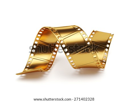 3d rendering of golden film strip isolated on white background. Entertainment concept - stock photo