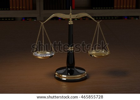 3D rendering of golden law scales in law office