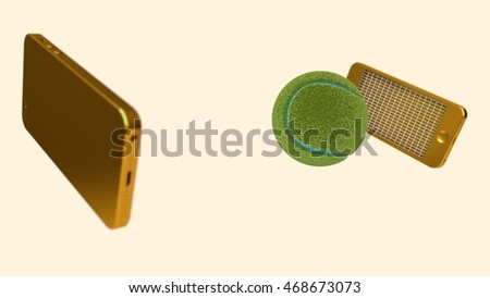 3d rendering of golden phone icons playing tennis imitation, tennis ball
