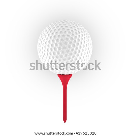 3D rendering of golf ball on peg