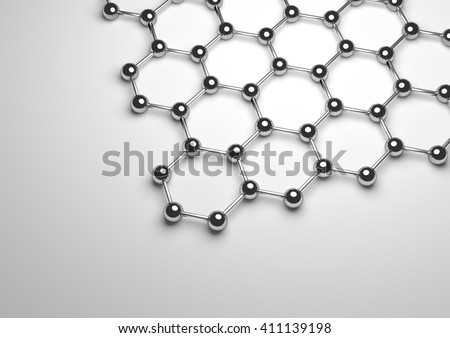 3D rendering of Graphene Surface - stock photo