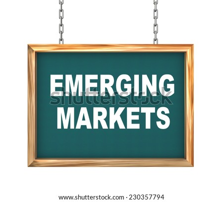 3d rendering of hanging wooden signboard banner of concept of emerging markets - stock photo