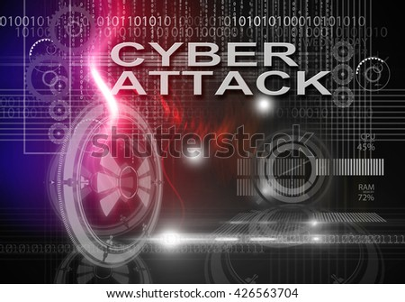 3d rendering of hi tech infographics of cyber attack - stock photo