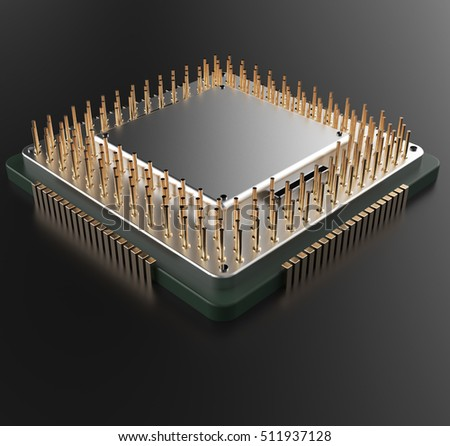 3d rendering of hi technology Central Computer Processors CPU with clipping path