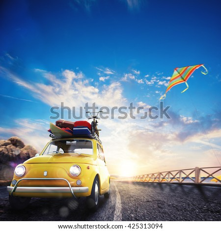 3D rendering of holiday on the road - stock photo