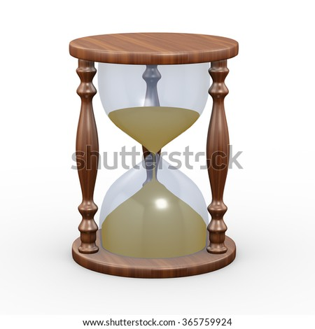 3d rendering of hourglass on white background - stock photo