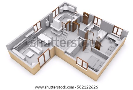 3 D Rendering House Interior Section Plane Stock Photo (Royalty Free ...