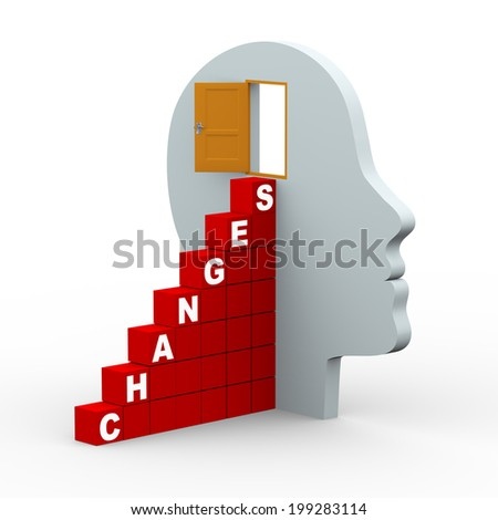 3d rendering of human head with open door and word changes stairs made up of cubes. 3d white people man character. - stock photo