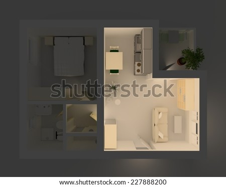 3d rendering of illuminated and furnished living room - stock photo