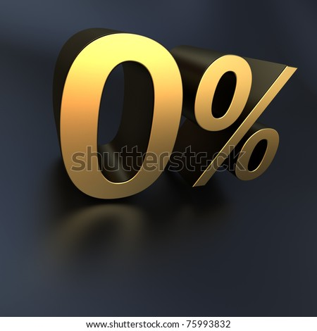 3D rendering of 0% in metallic texture against a a black background