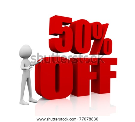 3d rendering of 50% in red letters on white background - stock photo