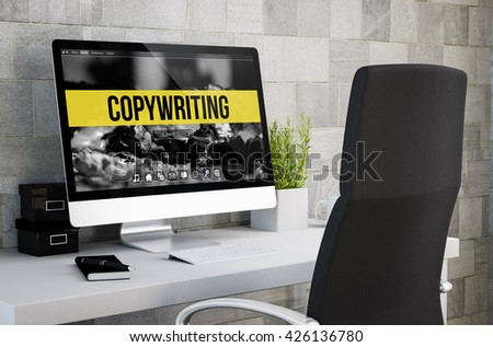 3d rendering of industrial workspace showing copywriting on computer screen. All screen graphics are made up. - stock photo
