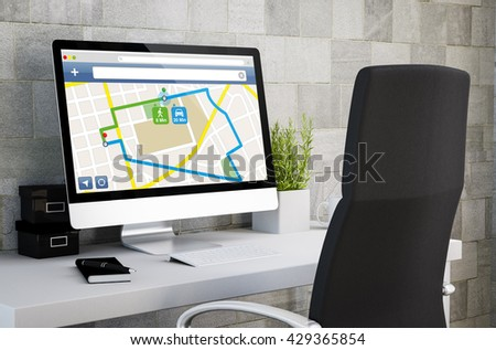 3d rendering of industrial workspace showing gps on computer screen. All screen graphics are made up. - stock photo