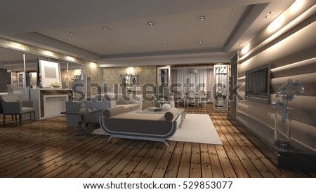 3d rendering of interior design