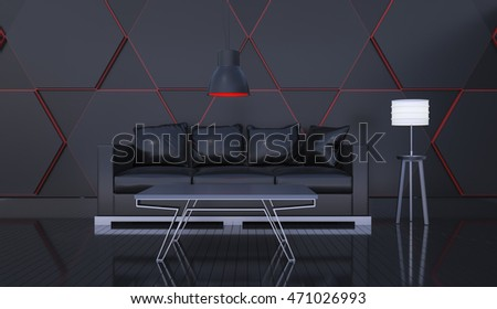 3D rendering of interior modern black room includes sofa, floor lamp, painted wooden floorboards and black wall.