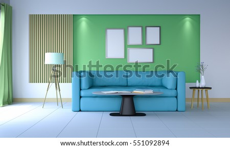 3D rendering of interior modern room includes blue sofa, floor lamp, and picture frame hanging on the greenery wall.