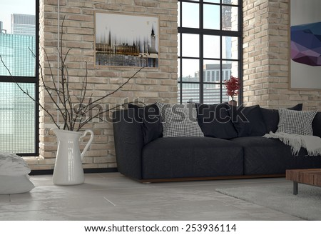 3d Rendering of Interior of Urban Apartment Living Room with Sofa and Exposed Brick Wall - stock photo