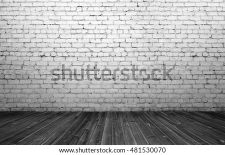 3d rendering of interior with old white brick wall and wooden floor. Copyspace. Rough and ragged textures. Timber.
