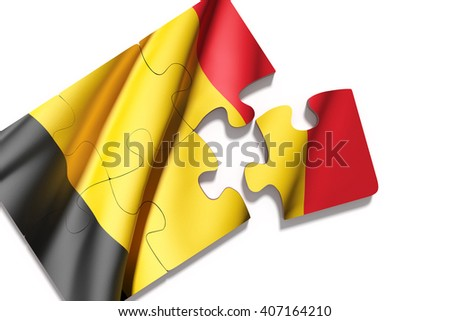 3d rendering of isolated puzzle Belgium flag on white background - stock photo