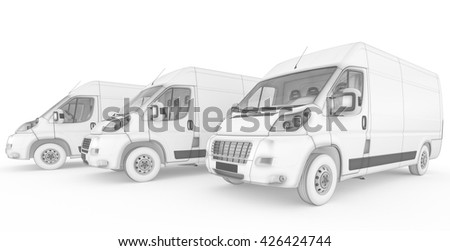 3D rendering of Isolated sketch white vans with white background - stock photo