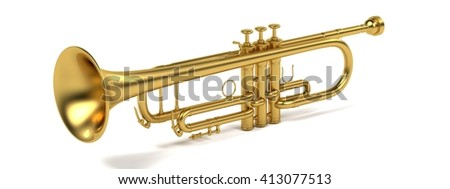 3d rendering of jazz trumpet
