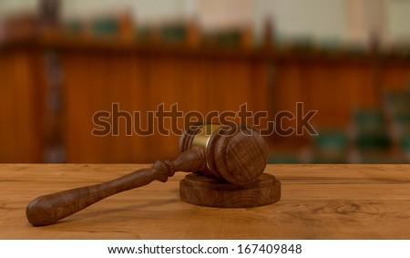 3d rendering of judges gavel on court desk - stock photo