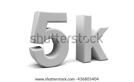 3D rendering of 5k text in big letters on a white background.