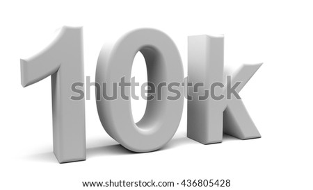 3D rendering of 10k text in big letters on a white background.