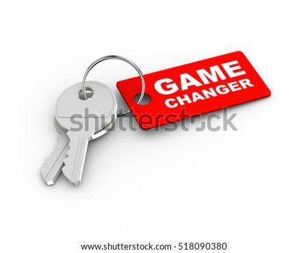 3d rendering of keys with game changer tag.